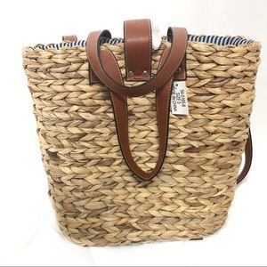 Straw Backpack Lined with Adjustable Straps